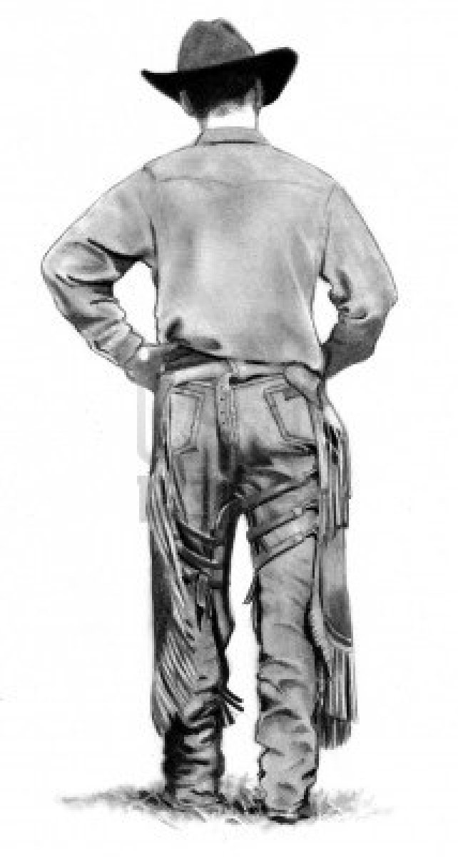 10880271-dessin-au-crayon-de-cowboy-walking-away