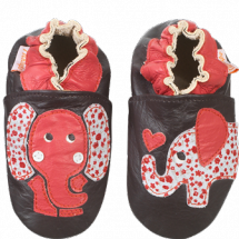 chaussons-bebe-cuir-souple-elephant-rouge