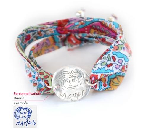 Bracelet personnalisable en liberty et argent  Bracelet personnalisable en liberty et argent