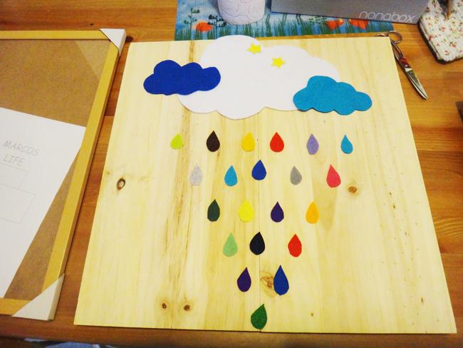 Tuto un cadre avec des nuages et gouttes en feutrine