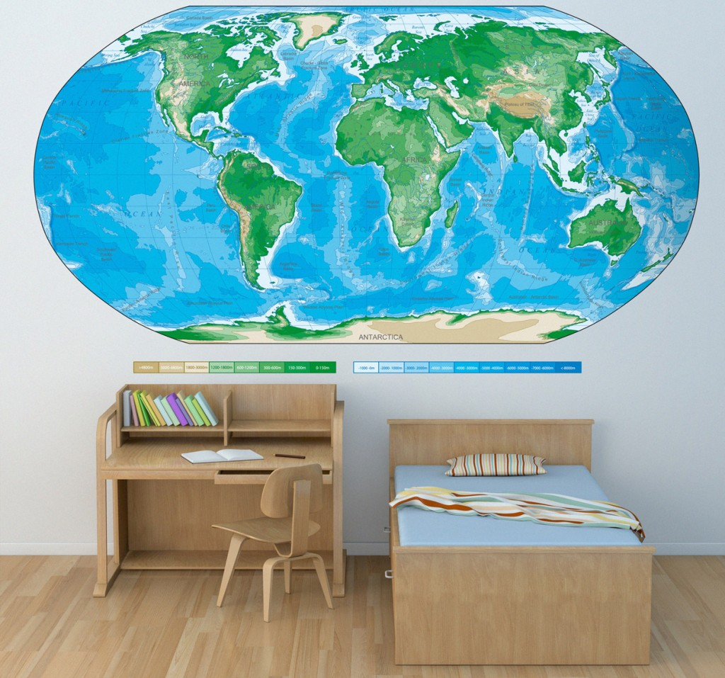 Une map monde en stickers