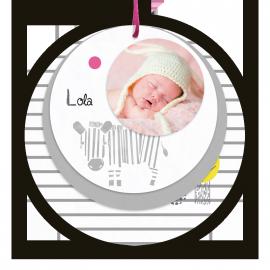 carte-de-naissance-sucre-d-orge-4-ronds-zebre-photo-bebe-fille-n12c261