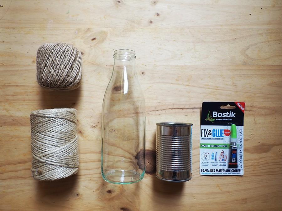 Tuto bouteille de verre et conserve customisées avec de la ficelle