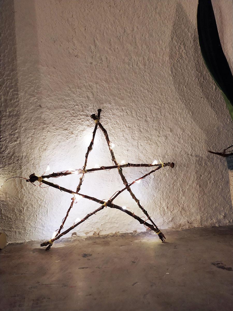 étoile branche bois déco noel